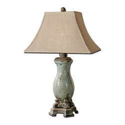 Uttermost - Uttermost Andelle Table Lamp w/ Burlap Linen Fabric Shade - Table Lamp w/ Burlap Linen Fabric Shade belongs to Andelle Collection by Uttermost Ceramic base finished in a heavily distressed, crackled, light blue glaze with a light tan wash and rustic bronze details. The rectangle bell shade is a burlap fabric with natural slubbing. Lamp (1)