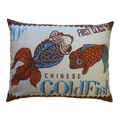 Stamp Pillow, White Goldfish