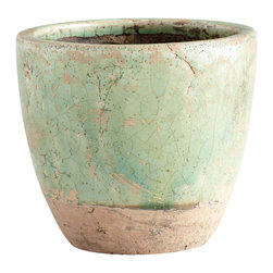 Cyan Design - Cyan Design Small Hosta Planter in Green Glaze - Small Hosta Planter in Green Glaze