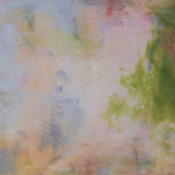 """Sarah Gentry - """"Pastel Whirl"""" Original Oil and Wax Painting - This is an original oil and wax painting on board with 2"""" frame. The frame is natural wood."""