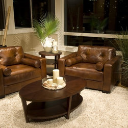 Soho Rustic Top Grain Leather Standard Accent Chairs, Set of 2 - One of my favorite looks is rustic mixed with modern elegance. These leather chairs could lend themselves either way.