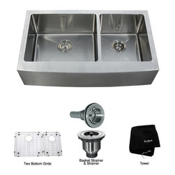 Kraus - Kraus 36 inch Farmhouse Apron 60/40 Double Bowl 16 gauge Stainless Steel Kitchen - *Add an elegant touch to your kitchen with a unique and versatile farmhouse apron sink from Kraus