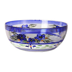 "Blue Floral 11"" Bowl - This is an 11"" bowl and is hand painted and is a blue floral design which works beautifully with Polish Pottery.  Perfect for the holidays or any season.  Something to be handed down from generation to generation. Proudly hand painted in the USA."