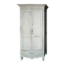British Traditions - French Carved Home Office w 2 Shelves & Large Cabinet (French Gray) - Finish: French Gray. Each finish is hand painted and actual finish color may differ from those show for this product. French carved home office. Large cabinet. 1 Drawer. 2 Adjustable shelves, 1 with keyboard tray. Minimal assembly required. 43 in. W x 26.5 in. D x 81.5 in. H (223 lbs.)The Honfleur Home Office is slender enough for most small spaces. It will come with two adjustable shelves, one of which has the keyboard tray pullout.