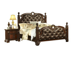 Homelegance - Homelegance Orleans 5-Piece Poster Bedroom Set in Rich Cherry - The grandeur of old world Europe is flawlessly executed in the Orleans collection. Acanthus leaf carvings feature prominently and blend with elegantly appointed moldings on each piece of this stately bedroom. Wreath accents lend dramatic flair to the bed and mirror as does the sculpted lion's foot base, supporting each of the case pieces. Heavy pilasters rise with and are topped with carved finials on the tufted dark brown bonded leather headboard and footboard. A rich cherry finish with gold kitchen & dining kitchen.
