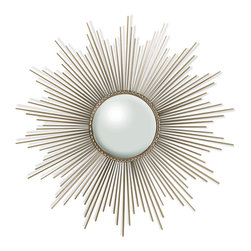 Kathy Kuo Home - Alessandra Hollywood Regency Silver Sunburst Convex Mirror - Bursting with sunshine and style, this impressive mirror is both opulent and optimistic. In an entryway, it greets your guests with rays of shimmering silver. In a bedroom, it makes every day a little brighter. Finished in polished nickel, this warm, whimsical mirror sheds a little light and luxury into your home.