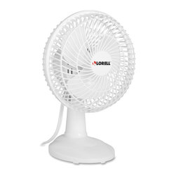 Lorell - Lorell Desk Fan - 3 Blades - 152.4 mm Diameter - 2 Speed - Adjustable Tilt Head - 6 fan offers two speeds, an adjustable tilt head, three plastic blades and a plastic grill. 110 volt fan also includes a 6' cord. UL and cUL approved.