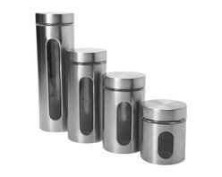 Anchor Hocking - Palladian 4 Pc.  Canister Set Brushed Stainless Steel - 4 Pc. Palladian Brushed Stainless Steel Window Canister Set. - 1 ea. 24 oz. 36 oz. 46 oz. 64 oz.