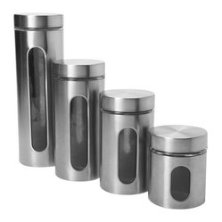 Anchor Hocking - Palladian 4 Pc  Canister Set Brushed SS - 4 Pc. Palladian Brushed S/S Window Canister Set, - 1 ea. 24 oz., 36 oz., 46 oz., 64 oz.