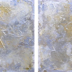 "ARTdestiny - Original Abstract/Modern Paintings by Michele Morata - ""BEAUTY"" { Diptych } Huge XXL Original Modern Oil Paintings by Michele Morata - 72"" x 36"" {Horizontal or Vertical} Eco-Friendly Textured Metallic Oil, Silver, and Mixed-Media Paintings. Beauty {Diptych - Two 36"" x 36""} by Michele Morata is a One-of-a-Kind Contemporary Textured Metallic Huge XXL Artwork using only Organic Art Mediums healthy for our homes, offices, and earth."