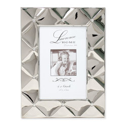 Lawrence Frames - 4x6 Silver Pillow Metal Picture Frame - Beautiful decorative silver  metal picture frame with a gorgeous pillow effect with crystal accents.  This silver metal frame has a rich and lustrous finish.  High quality black  velvet backing with easel for vertical or horizontal tabletop display, and comes with hangers for vertical or horizontal wall mounting.    Fabulous metal picture frame is made with exceptional workmanship and comes individually boxed.  In this style the 8x10 size comes with a white acid free bevel cut mat for a 5x7 photo.