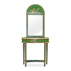 China Furniture and Arts - Console Table w/Mirror - Hand painted flowers stand in rich hand lacquered exuberant green elm wood that gives this console its elegant, curve shape. One drawer on top and a shelf below add beautiful function to beautiful form. Hand painted details abound. Matching beveled mirror with brass hook on back.