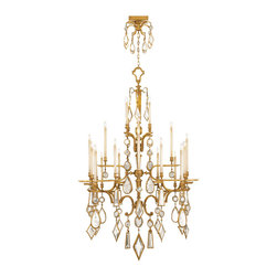 Fine Art Lamps - Fine Art Lamps 714640-3ST Encased Gems Gold Clear Crystal 24 Light Chandelier - 24 Bulbs, Bulb Type: 60 Watt Candelabra; Weight: 116lbs