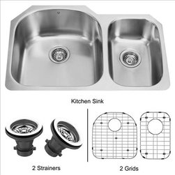 Vigo - VIGO VG3121LK1 31 inch Kitchen Sink - The VIGO double Kitchen Sink, matching grids and strainers complement any decor and are highly functional. Every design detail is featured in this sink to meet your needs.