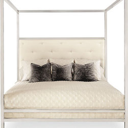 Landon Metal King Poster Bed - This is a very unique bed from Bernhardt. It's a metal poster bed with an upholstered headboard.
