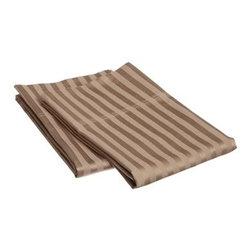 650 Thread Count Egyptian Cotton King Taupe Stripe Pillowcase Set - 650 Thread Count Egyptian Cotton OVERSIZED King