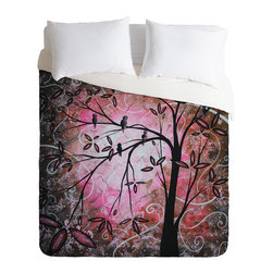 DENY Designs - madart inc Cherry Blossoms Duvet Cover - Turn your basic, boring down comforter into the super stylish focal point of your bedroom. Our Luxe Duvet is made from a heavy-weight luxurious woven polyester with a 50% cotton/50% polyester cream bottom. It also includes a hidden zipper with interior corner ties to secure your comforter. it's comfy, fade-resistant, and custom printed for each and every customer.