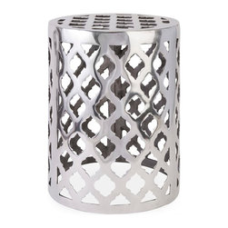 IMAX Worldwide - IMAX Worldwide Nichole Aluminum Garden Stool in Silver - The modern bold pattern featured on the Nichole aluminum garden stool adds a contemporary shine to any display.