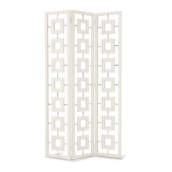 """Jonathan Adler - Jonathan Adler Desmond Screen - Jonathan Adler recalls the cinematic elegance of Sunset Boulevard in this sophisticated Desmond screen. Polished nickel accents support the white lacquered frames in this decidedly modern glam look. 46""""W x 1.25""""D x 81""""H; White lacquer, polished nickel; Hinged screen; Name references Norma Desmond, the Gloria Swanson character in Sunset Boulevard"""