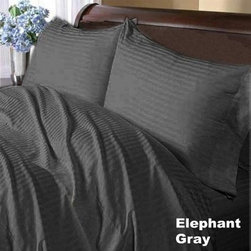 SCALA - 600TC Stripe Elephant Grey Full XL Flat Sheet & 2 Pillowcases - Redefine your everyday elegance with these luxuriously super soft Flat Sheet . This is 100% Egyptian Cotton Superior quality Flat Sheet that are truly worthy of a classy and elegant look.