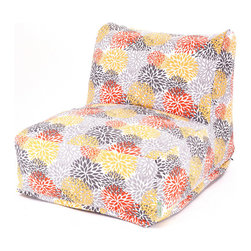 Majestic Home - Outdoor Citrus Blooms Bean Bag Chair Lounger - Add style and functionality to your living room, family room or outdoor patio with the Majestic Home Goods Bean Bag Chair Lounger. This Beanbag Chair has the design of modern furniture, while still giving the comfort of a classic bean bag. Woven from outdoor treated polyester, these loungers have up to 1000 hours of U.V. protection and are able to withstand all of natures elements. The beanbag inserts are eco-friendly by using up to 50% recycled polystyrene beads, and the removable zippered slipcovers are conveniently machine-washable.