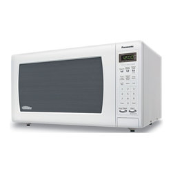 Panasonic - 1.6 Cu. Ft., 1250 Watt, White Body and Door, 5 Button Panel - The Panasonic NN-SN733W 1.6 Cu. Ft. 1250W Genius Sensor Microwave Oven with Inverter Technology, in white, is perfect for the countertop. Unlike other microwave ovens, Inverter technology delivers a seamless stream of cooking power, even at lower settings, for precision cooking that preserves the flavor and texture of your favorite foods. With Inverter, you can poach, braise and even steam more delicate foods, all with the speed and convenience of a microwave! With the touch of our Genius Sensor cooking button, this microwave takes guesswork out of creating a great meal by automatically setting power levels and adjusting cooking or defrosting time. The sensor measures the amount of steam produced during cooking and signals the microprocessor to calculate the remaining cooking time at the appropriate power level. Plus with Turbo Defrost, you can thaw foods faster than ever!