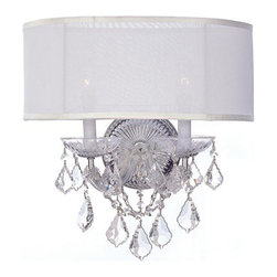 Crystorama 4482-CH-SMW-CL-S Brentwood Sconce Draped in Swarovski Elements -