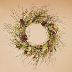 Oddity Gold Tipped Pine Burgundy Berry 20 in. Wreath - Hints of winter charm peak from this Oddity Gold Tipped Pine Burgundy Berry 20 in. Wreath. Made of faux pine cones, berries, grasses, and twigs, it's a timeless decoration that suits any home. This wreath features classic holiday colors, including hues of green, red, and brown. It's an elegant wreath that can hang on your front door or over the fireplace.About Oddity, Inc.Oddity, Inc. was established in 1976 when Bob Averill left the company he worked for and started his own from the back of his van. After two years of selling products out of his van, Bob moved the company into an old barn near his hometown, Pottsville, PA. Once he landed business relationships with more and more suppliers to help develop new lines of product, Bob was able to bring in sales representatives and a customer service support team to field inbound calls. From there, he hired employees to pack and ship products to his customers in a timely manner. Although Bob sold the company in 1998 to focus on his love for travel and antique collecting, Oddity still remains proud to provide the same quality service and products as they have in the past. Oddity, Inc. has been a leader in the gift and home decor industry for over 35 years. Their designers travel worldwide in search of the best quality products at the most competitive prices. It's Oddity's goal to offer customers superior goods for their home decorating needs. From florals to glassware to botanicals and more, Oddity has a wide variety of unique items sure to fit anyone's taste and style.