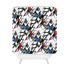 DENY Designs - Karen Harris Taliesin Multi Shower Curtain - Give your morning wakeup shower an extra jolt of stimulation with this contemporary shower curtain design from Karen Harris. Hand-inked like a comic book with bold contrasts, sharp lines and 3-D shading, this irregular geometric pattern is action-packed and full of zigzag swagger. Who needs coffee?