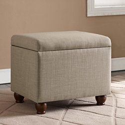 Kinfine USA - Medium Tan Linen Storage Ottoman - This beautiful neutral tan linen ottoman features a solid wood construction and modern linen fabric with a smooth brown finish. Complete with a soft-closing, safety-hinged lid, lend extra seating, storage and style to your living space.