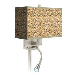 Giclee Glow - Seagrass Giclee LED Reading Light Plug-In Sconce - This contemporary giclee shade wall sconce features a flexible and energy efficient LED reading light. This giclee shade wall sconce has a clean, crisp look and contemporary appeal. It features a high-quality Seagrass giclee printed pattern. The angular frame comes in a lustrous brushed steel finish. Installation is easy: just plug it in to any standard wall outlet. It�s perfect beside a bed or a reading chair thanks to the energy efficient gooseneck LED reading light. Reading light and main light are controlled separately. This item is custom made-to-order. U.S. Patent # 7,347,593.