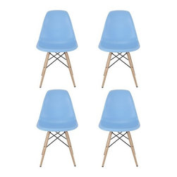 Ariel - Set of 4 Eames Molded Light Blue Plastic Dining Shell Chair W/Wood Eiffel Legs - This set of 4 Eames Style DSW Molded Plastic Dining Shell Chair with Wood Eiffel Legs will provide ample indoor seating for family and guests. Sporting a futuristic yet retro look at the same time, this chair set will be a great addition to any kitchen or dining room area. Constructed of heavy duty matte finish seats. Also available in white, black, or gray.