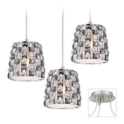 """Possini Euro Design - Checkerboard Crystal 3-Light Nickel Multi Light Pendant - Multi swag chandeliers let you add designer lighting to any room. The special swag canopy installs into any ceiling junction box just like a normal ceiling light or chandelier. Install standoffs in the ceiling and swag the cord lines to the canopy; adjust the hanging length as desired. With the hanging options you can get the exact look and light placement you need. This version features a brushed nickel finish triple swag canopy. With three checkerboard crystal mini pendants from the Possini Euro Design lighting collection. Takes three 60 watt bulbs (not included).Each pendant is 6"""" high 6 3/4"""" wide. 9"""" wide canopy.  Multi swag chandelier.  With special canopy adaptor.  Installs into any ceiling junction box.  Includes ceiling anchors.  With three standoff ceiling mounts.  Brushed nickel finish canopy.  Checkerboard crystal pendants.  12-foot cord on each.  Create drama with this large chandelier.  Takes three 60 watt bulbs (not included).  Each pendant is 6"""" high 6 3/4"""" wide.  Canopy is 6"""" wide."""