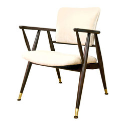 Mid-Century Arm Chair Attr. Jens Risom - In the manner of Jens Risom, with original brass foot caps and a dark walnut frame. Custom upholstered in a quality Champagne velvet.