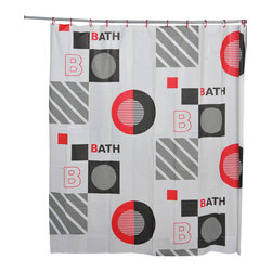 Printed Peva Shower Curtain with Rings Studio Multicolor - This promotional printed shower curtain studio for bathrooms is in Peva (15 % Eva and 85 % polyethylene). Its modern designs offer an original and brilliant deco. Set of 12 white shower rings supply. It will fit perfectly in your shower or bathtub. Prior to hanging, immerse curtain in a bath of warm water to help remove creases. Cleaning with soapy water only. Width 71-Inch and height 71-Inch. Color red, black and grey. This shower curtain is perfect to add a decorative touch in your bathroom! Complete your bathroom decoration with other products of the same collection. Imported.