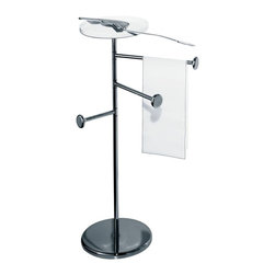 Alessi - Alessi 'Birillo' Towel Stand - Get towels off the floor and onto this convenient tower. (You know who you are.) It features a trio of arms for air-drying a washcloth, hand towel and bath towel, all in one spot, while the sturdy base keeps the stand standing tall in your bathroom.