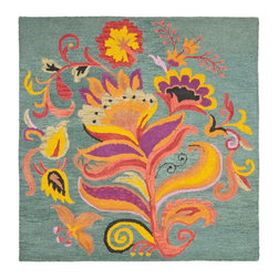 Safavieh - Safavieh Blossom Country & Floral Hand Hooked Wool Rug X-42-A976MLB - 100% pure virgin wool pile, hand-hooked to floral designs with neutral tones. This collection is handmade in India exclusively for Safavieh.