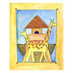 Oh How Cute Kids by Serena Bowman - Mod Ark Giraffe, Ready To Hang Canvas Kid's Wall Decor, 20 X 24 - Every kid is unique and special in their own way so why shouldn't their wall decor be so as well! With our extensive selection of canvas wall art for kids, from princesses to spaceships and cowboys to travel girls, we'll help you find that perfect piece for your special one.  Or fill the entire room with our imaginative art, every canvas is part of a coordinating series, an easy way to provide a complete and unified look for any room.