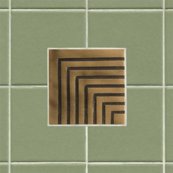 """4"""" Solid Bronze Wall Tile with Chevron Design - Featuring a sleek and contemporary chevron pattern, this 4"""" accent tile is sure to be the focal point of your bath or kitchen. It is made of solid bronze and is offered with an optional tile frame for a custom look."""