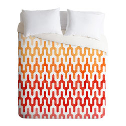DENY Designs - Arcturus Warm 1 King Duvet Cover - Need a little more heat in the bedroom? This duvet cover's warm colors and spicy, flame-like design will give your decor a shot of stimulating energy. The contemporary pattern has a slightly tribal look that would coordinate with Southwestern style influences as well as modern ones.