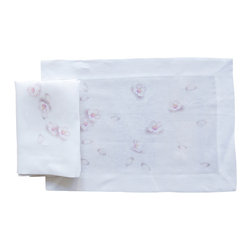 Huddleson Linens - Blossom Print Linen Placemat (Set of Four) - Just the suggestion of cherry blossoms makes these placemats go beyond your standard floral print and into the sublime. The digital print helps to keep the original brushstrokes, making it all the more beautiful for your festive feast. Made of fine Italian linen and completely machine washable.