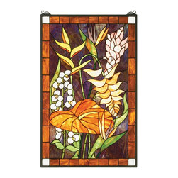Meyda Tiffany - Meyda Tiffany Tropical Floral Tiffany Window X-93515 - From the Tropical Floral Collection, this Meyda Tiffany Tiffany window features subtropical floral and fauna complimented by warm muted tones. The vivid shades of gold and bark are complimented by a dark, luxurious plum backdrop. Soft toned accenting highlights the finer details, adding to the appeal of this charming design.