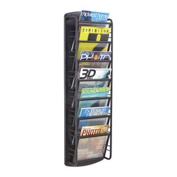 Safco - Safco Impromptu Magazine Rack 7 Pocket in Black - Safco - Magazine Racks - 4643BL - Stylish and ultra modern racks will keep your reading materials organized and easy for the next reader to find in your waiting area, reception room or employee break area. Use 7 pocket wall rack to display business forms, corporate literature, industry magazines or other magazine and literature pieces. Heavy-duty steel for durability and come in a Black powder coat finish. Wall mounting hardware is included.