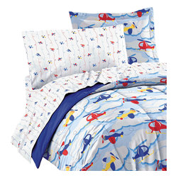 CHF Industries Inc - Planes Clouds Twin Bedding Set 5 Piece Helicopter Bed - Features: