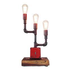 Industrial Lightworks - Red Modern Industrial Lamp - with Edison Bulbs, With 3 Marconi Bulbs - Cool looking rustic industrial lamp. Three lights with a combination red and black finish, and a lighted switch when the unit is off. The base is made from recycled barn wood.