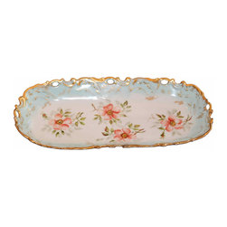Limoges Serving Dish - This is a lovely hand painted Victorian antique Limoges porcelain tray perfect to display your perfume bottles or use as a tray in kitchen for deserts. Sweet and finely hand painted peach roses with a light blue border on front and back.