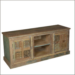 """60"""" Media Console Handmade Reclaimed Wood TV Stand - We combined rustic comfort and hand crafted excellence and created the 8-Hand Carved Tile Entertainment Center. Store your media equipment in this 60"""" long television cabinet with intricately carved tiles, each individually colored."""