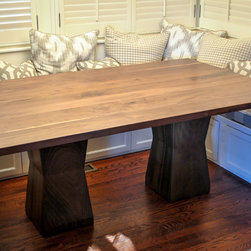 Walnut Kitchen Table - A solid walnut table designed to fit a bench seating area in a client's kitchen.