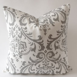 Suzani Damask Design Decorative Throw Pillows Covers, Gray/White - Add pops of gray with these beautiful damask throw pillows.