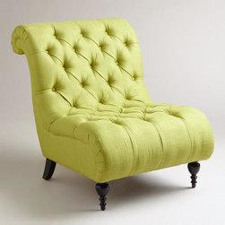 Green Tufted Devon Slipper Chair -